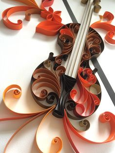 The Violin made with the quilling technique. Quilling Techniques, Crepe Paper, Paper Quilling, Painted Rocks, Paper Art, Projects To Try, Creative, Behance, Pencil Art