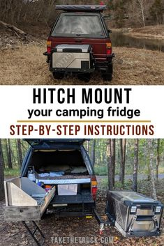 Fridge Slide Alternative for Your Truck Camper! No need for a fridge slide for you camping fridge in your DIY build! Free up that interior space with a hitch mount. Step-by-step directions – check out our post. Truck Camper, Truck Tent Camping, Diy Camper, Camping Hacks, Camping Gear, Outdoor Camping, Camper Van, Camping Outfits, Minivan Camping
