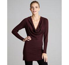 Autumn Cashmere burgundy cashmere cowl neck sweater |