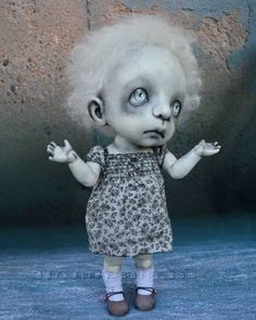 Art Doll with a Skull. BJD. 12in. Gothic. Limited by DarkAlley