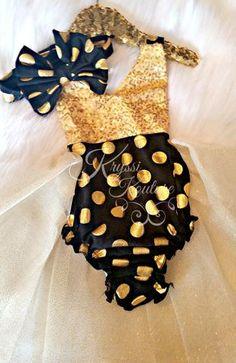 Black   Gold Polka Dot Tutu Romper - Polka Dot Romper - Smash Cake - 1st 5737efea7