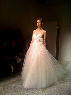 Still loving this Amsale grid tulle wedding dress