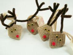 Vintage Reindeer Kiss Holders Handmade Christmas by dalesdreamsII