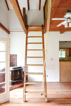 Our Loft Ladder Goes Electric! - Yellow Brick Home Loft Staircase, Staircase Design, Spiral Staircases, Dream House Exterior, Dream House Plans, Cottage Stairs, Corner Sheds, Roof Storage, Attic Ladder