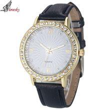2016 Marca de Moda de Luxo Mulheres Relógio de Quartzo de Couro Das Senhoras Relógios Horas montre femme relogio feminino Relógio De Vestido De Cristal alishoppbrasil