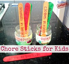 Toddler Approved!: Bedtime Battles and Chore Sticks for Kids {Kid's Co-op}. A simple way to have kids help around the house... and a great way to minimize bedtime struggles. How do you help kids be more independent with chores and bedtime?