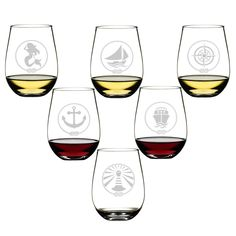 Amazon.com | SET OF 6 -Stemless Wine Glasses-Nautical Themed, Resturant Quility Plastic, 14oz, Best Shatter Proof Drinking Glass for Wine, Cocktails or gifts: Wine Glasses