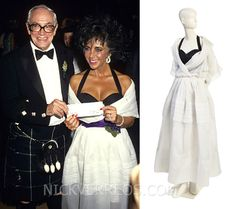 1987 Dior Gown: a white silk organza with black silk gazar bodice gown from the House of Christian Dior. Malcolm Forbes presented Elizabeth Taylor--wearing this gown--with a $1 million check to amFAR at the 70th Anniversary Forbes Magazine Celebration. It sold for $15,000 and was estimated to sell between $4,000-6,000.