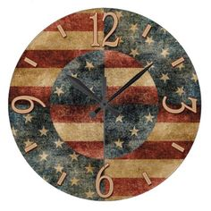 American Flag Wall Clock - independence day 4th of july holiday usa patriot fourth of july