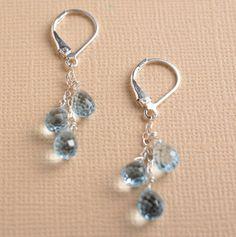 blue topaz earrings light blue topaz earrings long silver by izuly, $59.00