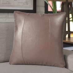 Trent Austin Design Wynkoop Faux leather Throw Pillow Size: x Color: Pecan Leather Throw Pillows, Leather Pillow, Throw Pillows Bed, Diy Pillows, Throw Pillow Sets, Outdoor Throw Pillows, Sofa Bench, Couch, Leather Cover