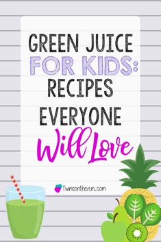 Green Juice for Kids: Recipes Your Kids Will Love to Drink! green juice for kids. Recipes for getting toddlers, kids and adults into juicing to improve overall health and energy! Juice Recipes For Kids, Smoothie Recipes For Kids, Green Juice Recipes, Healthy Juice Recipes, Smoothies For Kids, Good Smoothies, Healthy Juices, Yummy Recipes, Smoothie Drinks