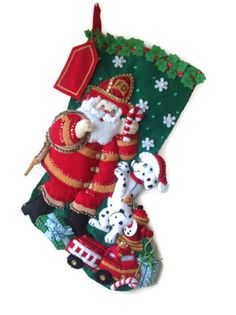 Finished Bucilla Christmas Stocking  Fireman by PinsandNeedles0, $84.95