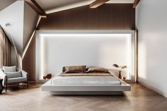 - Montevil - Attic - Guest bedroom and bathroom - on Behance Master Bedroom Bathroom, Master Bedroom Design, Morden Bedroom, Bedroom Furniture, Bedroom Decor, White Headboard, Suites, Minimalist Bedroom, Guest Bedrooms