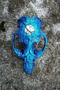Starry Night Painted Muskrat Skull by ShadyufoStudios on Etsy