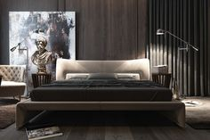 Dark bedroom interiors