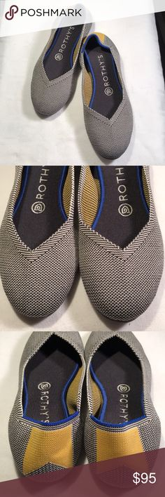 d661c8cce64c0 Rothy's ballet flats Gray W Gold Ribbon sz 7.5 Rothy's ballet flats in  excellent condition Gray