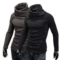 Mens High Collar HEAPS Cardigan Slim Button Assassins Sweater Turtle Neck   eBay