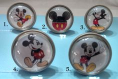 Dare me to do this???  Knobs Mickey Mouse / Bedroom Dresser Knobs / Glass Nursery Drawer Knobs / Pulls Handles / Unique Cabinet Knobs Pull Handle Hardware Disney