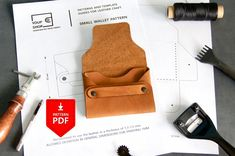 Leather Flap Fold Wallet Card Pattern- Cardholder Template PDF - Non-stitched Leather Card Wallet Pattern - Leather Purse Pattern Leather Wallet Pattern, Leather Card Wallet, Stitching Leather, Leather Bags, Leather Shoes, Simple Wallet, Leather Workshop, Purse Patterns, Easy