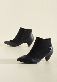 Peak of Mystique Bootie. There are secrets surrounding your sartorial finesse, but the head-turning style of these black booties is rather straightforward! #black #modcloth