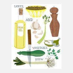 Lentil stew print by Claudia Pearson.