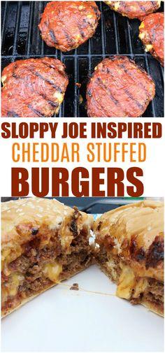 Sloppy joe cheddar stuffed #burgers