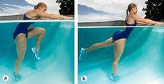 Stand 2 feet away from side of pool, feet hip-width apart and hands resting on wall. Draw left knee into chest, rounding back and contracting abs (a). Extend leg behind you, squeezing through glutes (b). Continue for 30 secon Water Aerobics Workout, Water Aerobic Exercises, Swimming Pool Exercises, Water Workouts, Pool Workout For Abs, Toning Exercises, Workout Tips, Cardio Training, Strength Training