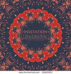 Vector invitation card with ornamental round lace with damask and arabesque elements. Mehndi style. Orient traditional ornament. by GarryKillian, via ShutterStock