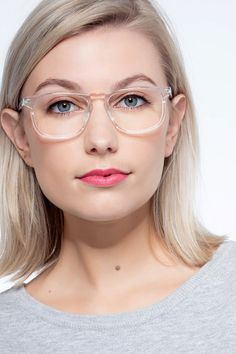 Clear rectangle eyeglasses available in variety of colors to match any outfit. These stylish full-rim, small sized acetate eyeglasses include free single-vision prescription lenses, a case and a cleaning cloth. Designer Prescription Glasses, Prescription Lenses, Clear Eyeglass Frames, Glitter Glasses, Eyeglasses Frames For Women, Modern Frames, Glasses Online, Rhode Island, Eyewear
