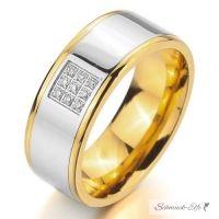 Herrenring  8 mm 316 L Edelstahl bicolor silber/gold...