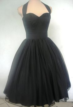 The little black halter neck chiffon 50s dress by elegance50s