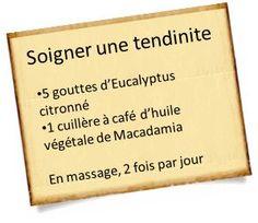 Treat tendinitis with essential oils, Eucalyptus Citronné, R Cafe, Health Care Reform, Aromatherapy Oils, Medical Care, Utila, Natural Medicine, Natural Health, Body Care