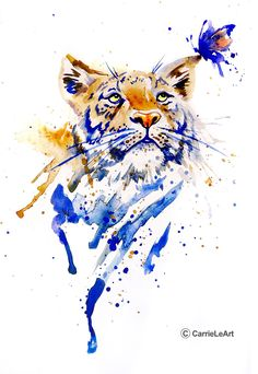 Original Tiger Watercolour Print Tiger Print by CarrieLeArt Watercolor Tiger, Tiger Painting, Watercolor Animals, Watercolor Print, Watercolor Tattoo, Watercolor Paintings, Tiger Drawing, Animal Paintings, Animal Drawings