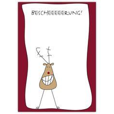 Überraschen Sie mit dieser lustigen Weihnachtskarte mit komischem Elch: Bescheerung!