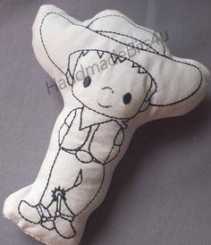DoodleIts  Doodle It  Cowboy  Washable Softie  by HandmadeBits4u