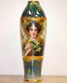 Art Nouveau Dresden Painted Portrait of Beauty Luster Porcelain Vase Circa 1900 | eBay