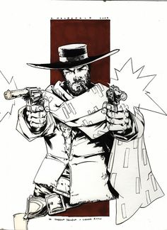 The Man with No Name - Andy MacDonald Andy Macdonald, Coffee Shop Logo, Le Far West, No Name, Clint Eastwood, Old West, Western Art, Being Ugly, My Drawings
