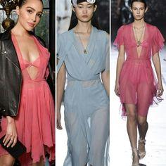 Também tem combinação de peças delicadas com outras mais pesadas (couro) ou rústicas, como a da Olivia Culpo para o desfile da John Galliano na PFW.❤️ #weekend #inspiration #oliviaculpo #creative #fashion #style #johngalliano #fashionshows #pfw