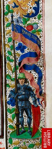 Detail of a miniature of a knight holding a banner with the Garter motto 'Honny soit qui mal y pense,' from the margin of the folio.   Origin:Netherlands, S. (Bruges)   Attribution:Master of the London Wavrin