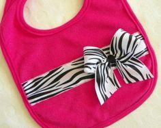 Pink Zebra Ribbon Bib
