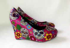 """Sugar Skull shoes 4"""" made to order. sugar skull wedge. handmade and unique funky shoes.rock & roll gothic goth punk metal funky"""