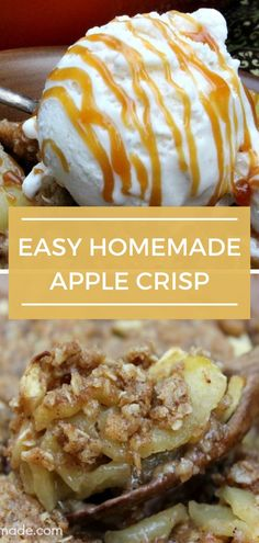 Easy Homemade Apple Crisp just in time for fall. Kick off fall with this delicious homemade apple crisp recipe just like mom makes it. The whole family will come back for seconds of this delicious and indulgent apple crisp. #applecrisp #dessert #applepie Best Apple Recipes, Apple Crisp Recipes, Pumpkin Recipes, Homemade Apple Crisp, Dessert Recipes, Fruit Dessert, Baking Recipes, Light Desserts, Best Comfort Food
