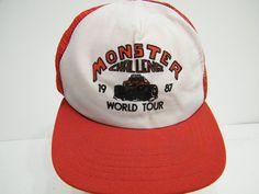 1987 MONSTER CHALLENGE WORLD TOUR 80s HIPSTER SWAG BASEBALL TRUCKER CAP HAT #BaseballCap