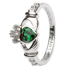 Ladies Birthstone Silver Claddagh Ring