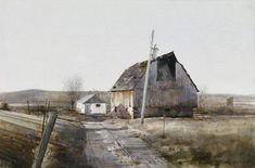 Barn by watercolor artist Dean Mitchell Watercolor Artists, Watercolor Landscape, Landscape Paintings, Watercolor Paintings, Watercolours, Watercolor Barns, Dean Mitchell, Art Aquarelle, Barn Art