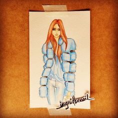 Watercolor. Fashion illustration. Por Ingrid Brasil.