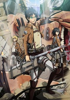 Attack on Titan by LadyGT.deviantart.com on @deviantART ---- lol, there's a titan photo bombing in the back :)