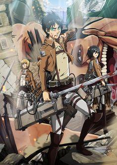 Attack on Titan by LadyGT.deviantart.com on @deviantART ---- lol, there's a titan photo bombing in the back :) Armin, Mikasa, Attack On Titan Eren, Manga Anime, Anime Art, Childhood Friends, Shingeki No Kyojin, Otaku, Blue Exorcist
