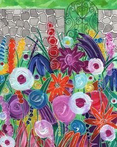 Facebook illo challenge - Secret. Within the secret garden... Mixed media including Dylusions paints.